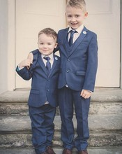 Navy Blue Boy Tuxedos Notch Lapel Children Suit Two Buttons Kid Wedding/Prom Suits (Jacket+Vest+Pants+Tie +Shirt) NH21