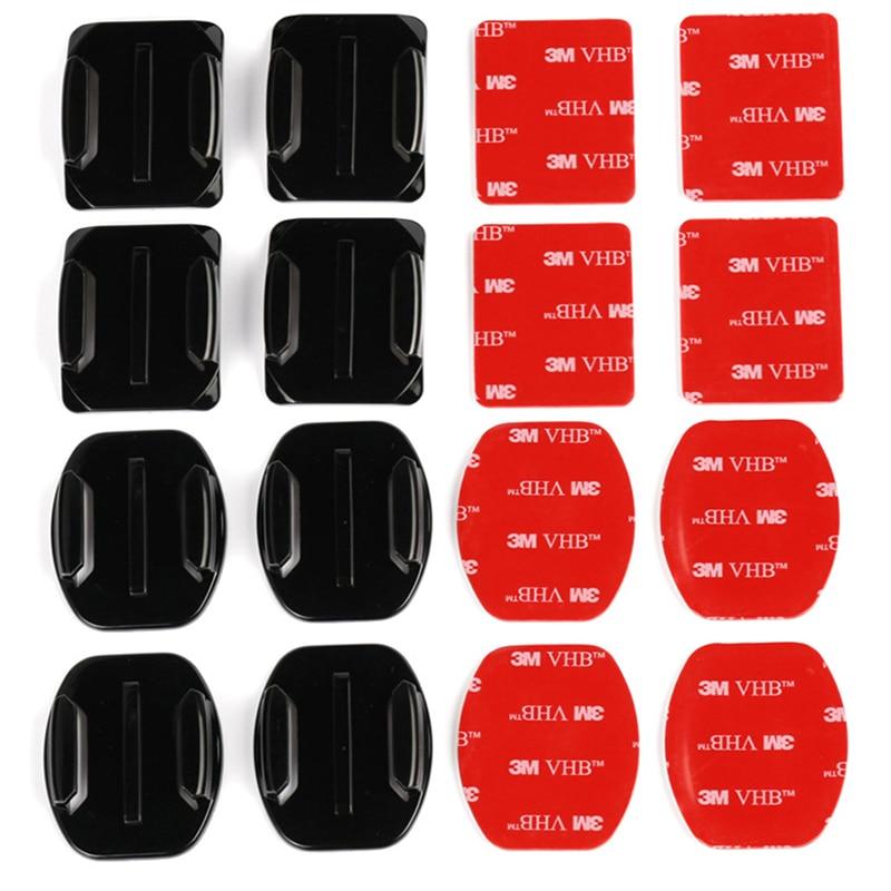4 pièces Plat Incurvé Support 4 pièces Adhésif pour GoPro Hero 7 6 5 4 3 Xiaomi yi 4 K Lite SJCAM Sj4000 EKEN H9 Accessoires de Caméra Daction