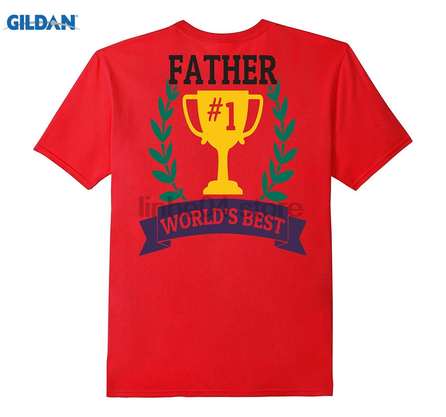 GILDAN Worlds Best Father Trophy Shirt Dad Fathers Day Gift Daddy Dress female T-shirt