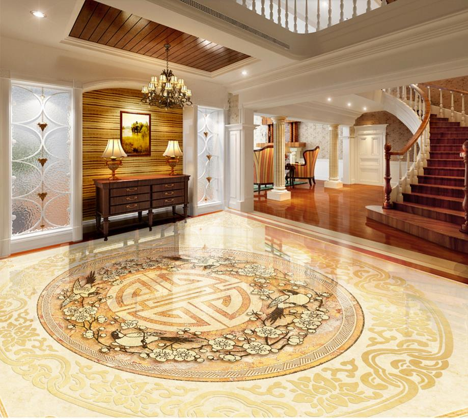 Chinese Classic Floor Wallpaper Custom 3d Painting Marble Vinyl Flooring Bathroom Waterproof Pvc
