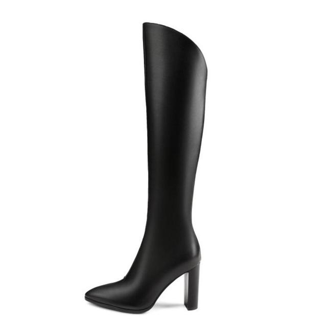 RizaBina Women Knee High Boots Winter Genuine Leather Shoes Woman Warm Fur High Heels Boots Luxury Designer Shoes Size 33-40
