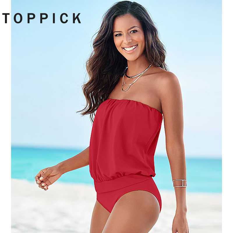 Toppick Bikini 2019 Solid Sexy Bandeau Plus Ukuran Baju Renang Wanita One Piece Swimsuit Wanita Monokini Baju Renang Wanita Badpak