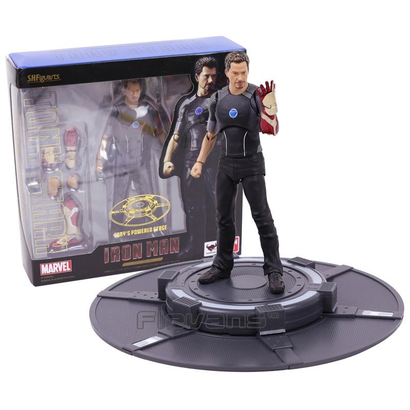 SHFiguarts Iron Man Tony Stark with Tony's Powerd Stage PVC Action Figure Collectible Model Toy 16cm цена 2017