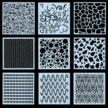 Buy 9Pcs/Set 13cm Geometry Texture DIY Layering Stencils Wall Painting Scrapbook Coloring Embossing Album Decorative Template directly from merchant!