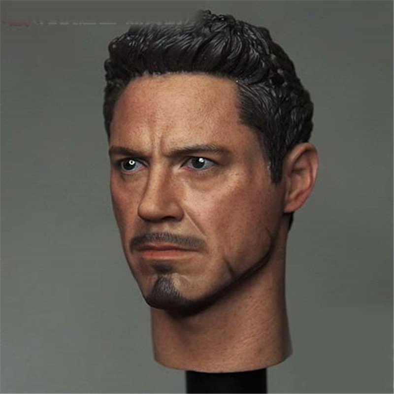 Mnotht 1/6 Scale Civil War Tony Stark Head Sculpt For Hot Toys Figure Body 12in Action Figures Solider Model Toys l30 mnotht head sculpt 1 6 solider head model mk42 mk43 iron man toni carved head for 12in figures toys and body l30