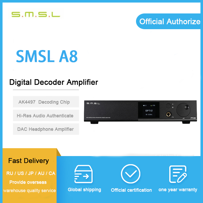 ASD SMSL A8 ICEpower 125W Hifi Audio Digital USB DAC Headphone Amplifier Power Amp Decoder DSD