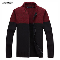 Aolamegs Men Casual Sweater Fashion Color Patchwork Cardigan Jacket Knitted Sweater Homme Male Autumn Winter Knitting
