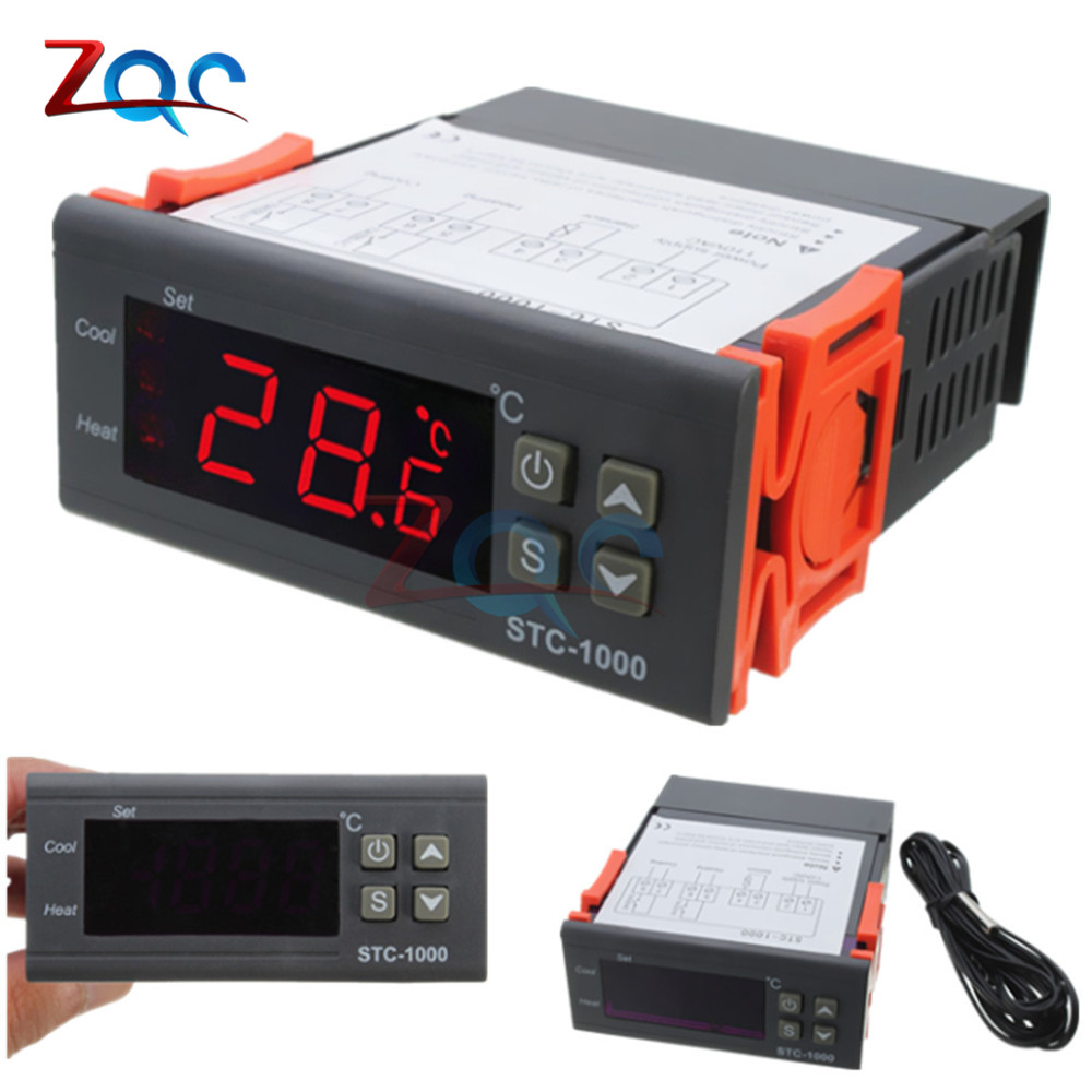 Two Relay Output LED Digital Temperature Controller Thermostat Incubator with Heater Cooler STC-1000 DC 12V 24V AC 110V 220V 10A