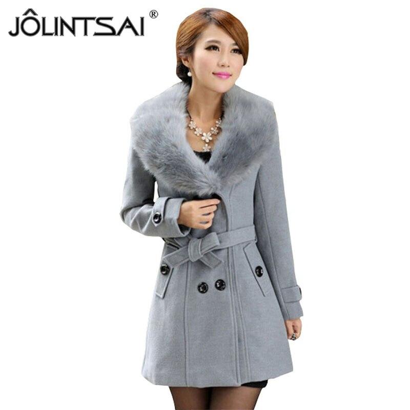 Talla grande M-5XL abrigo de invierno para mujer 2015 nueva moda Delgado gran cuello de piel doble breasted Womens Blended Hot Sale AE-ME-168