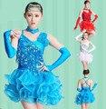 De la muchacha de lentejuelas de baile latino vestidos para el espectáculo de lentejuelas / estilo de la borla Cha Cha Rumba / Samba / salón / de Tango danza ropa niños traje de la danza