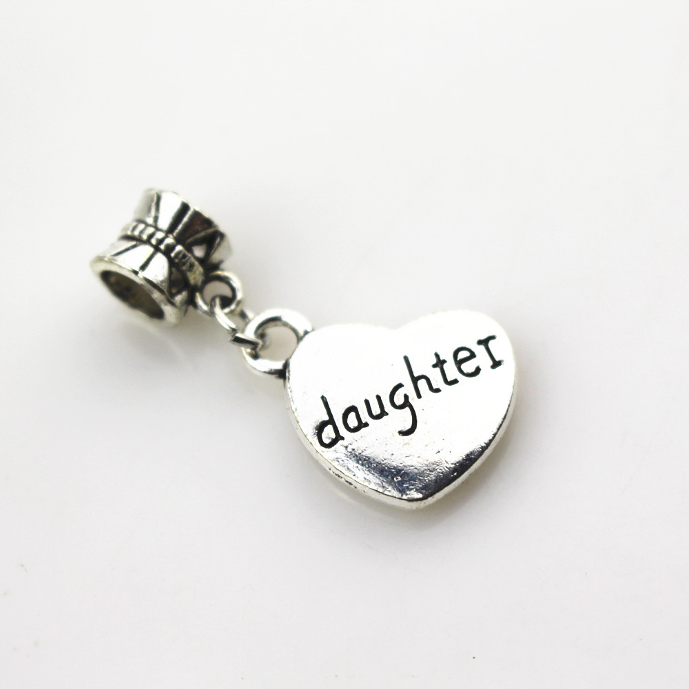 Free shipping 20pcs/lot heart daughter charms big hole pendant beads fit women bracelet & bangle diy jewelry dangle charms