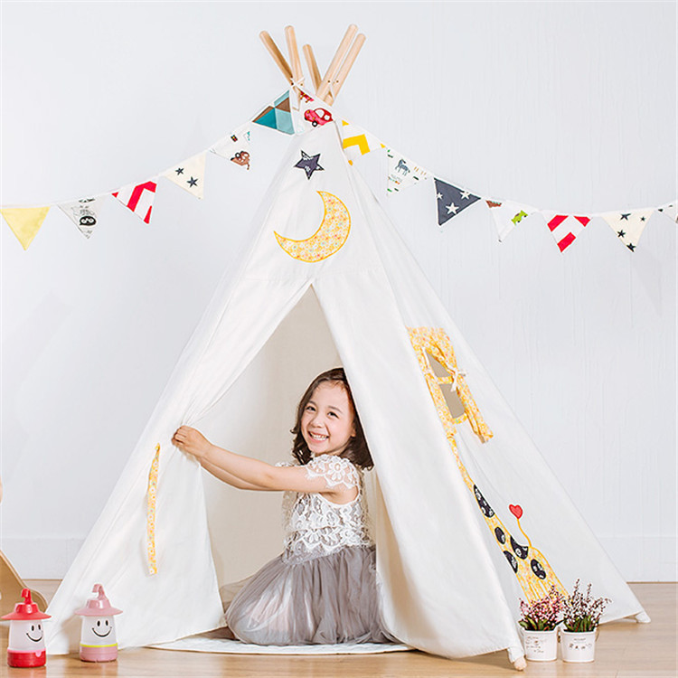 LM131Portable Children Cotton Canvas Teepee Kids Play Tents Outdoor Garden Folding Toy Tent Castle Playhouse for Baby Room Tipi kids teepee tipi tent for kids white children play house toy kids baby room indoor big outdoor teepees for children