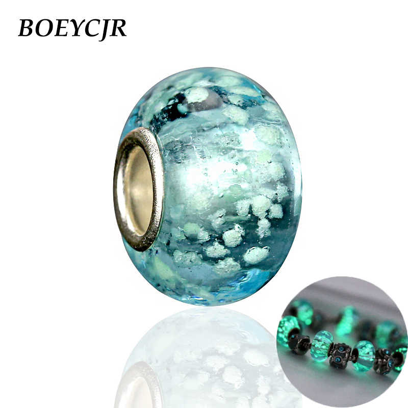 BOEYCJR Glowing in the Dark Bead Charm Fit Authentic Pandora Charms Bracelet Glass Bead For Women Jewelry Berloque 2017