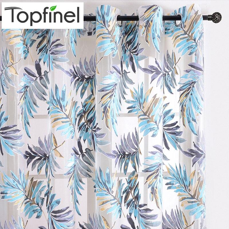 Haus & Garten Topfinel Blau Tropical Blätter Drucken Sheer Vorhänge Für Wohnzimmer Fenster Vorhang Schlafzimmer Küche Tüll Vorhänge Raumteiler