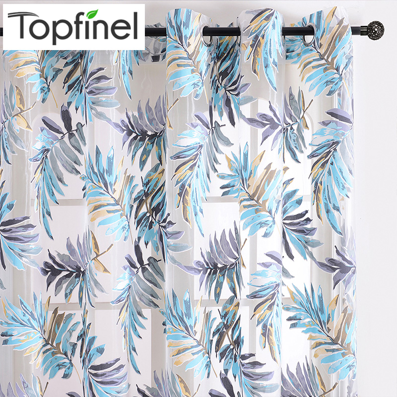 Topfinel Blue Tropical Leaves Print Sheer Curtains For Living Room Window Curtain Bedroom Kitchen Tulle Curtains Room Divider