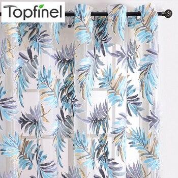 Cortinas Tropicales.Topfinel Nuevas Cortinas Azules Con Dibujos De Hojas Tropicales Para