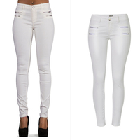 Low Waist Slim Fit Women Autos Leather Pants Slim Woman Biker Pants White Muti Zippers Women Clothing Sexy Ladys Leggings S2856