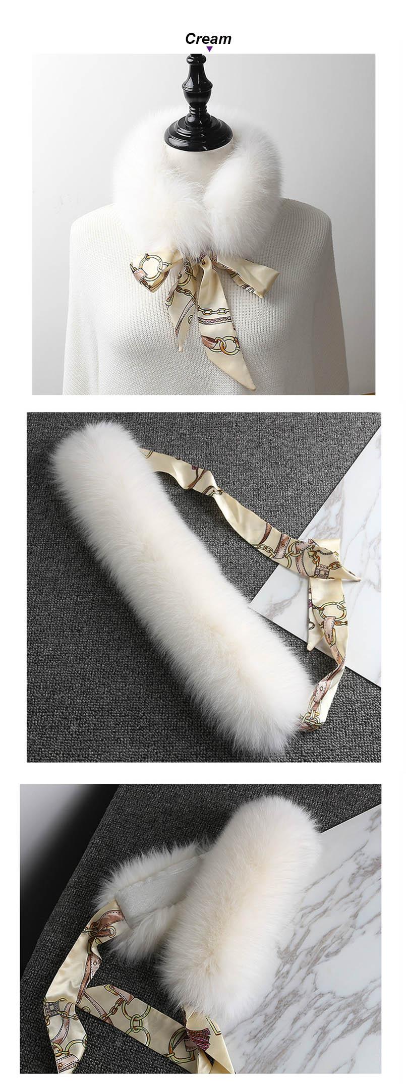 fox fur scarf with ribbon cream
