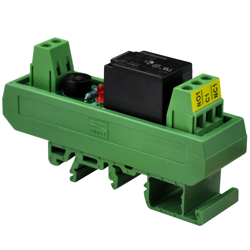 Electronics-Salon AC/DC 24V Slim DIN Rail Mount 10Amp SPDT Power Relay Interface Module, JS1-24V-F.