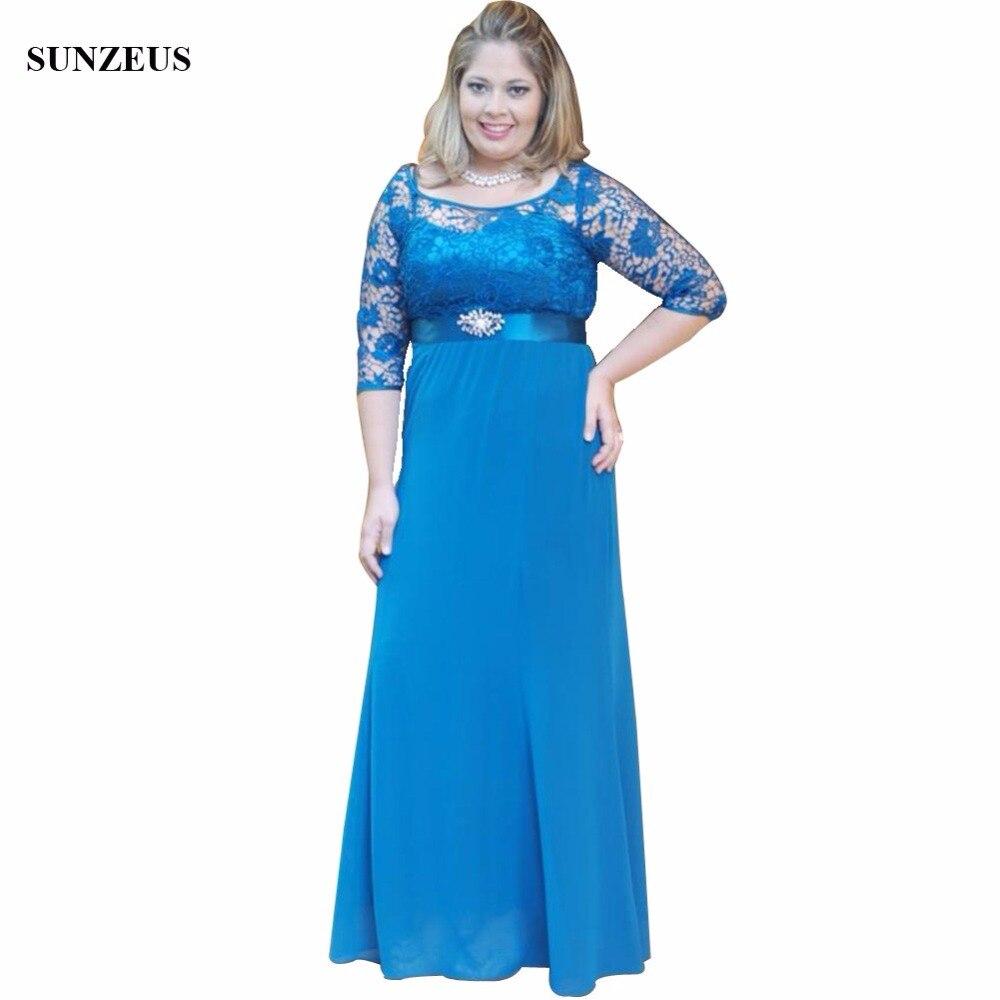 Синее платье для мамы и невесты с кружевными рукавами средней длины ТРАПЕЦИЕВИДНОЕ шифоновое длинное платье с глубоким вырезом для вечерин
