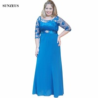 Blue Brides Mother Dress With Lace Half Sleeves A-line Scoop Neckline Chiffon Long Big Women Party Gowns CM053