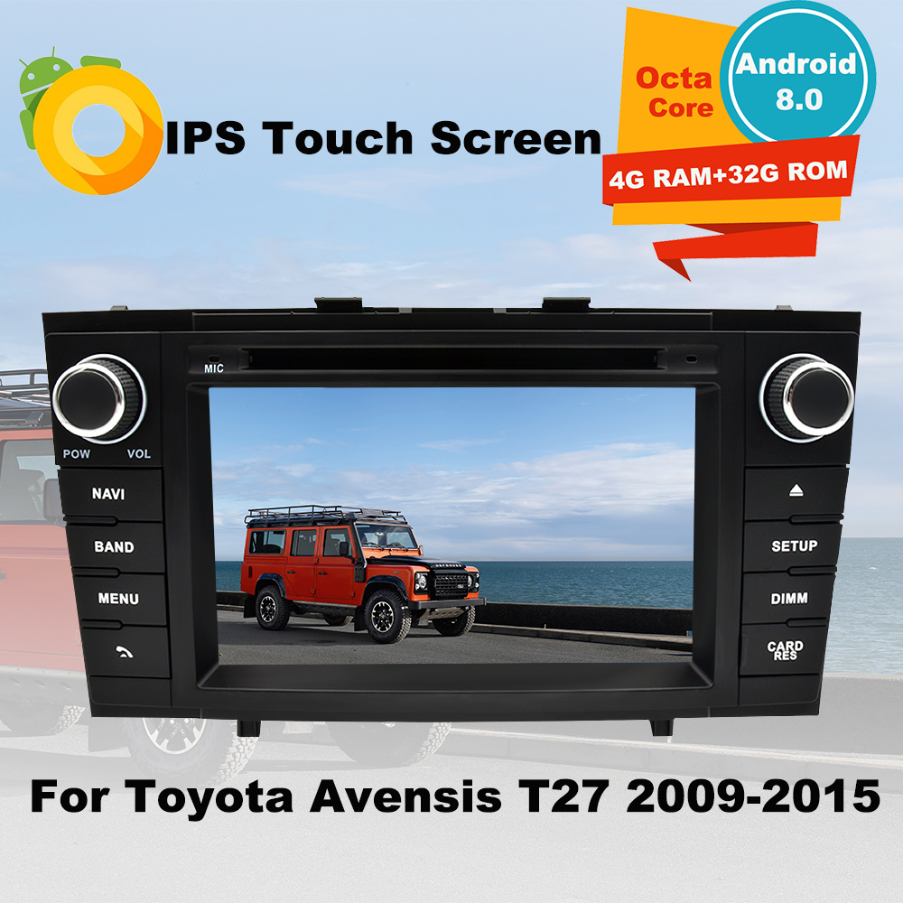 Support Apple Carplay <font><b>Android</b></font> 8.0 Car Radio DVD GPS Multimedia Player For <font><b>Toyota</b></font> Avensis <font><b>T27</b></font> 2009-2015 Auto Navigation Stereo image