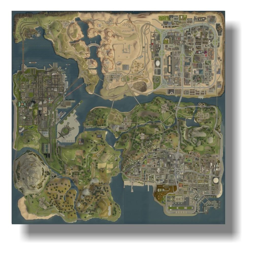 Consegna gratuita Poster sul muro gta 5 HD mappa topografica Grand Theft Auto V Strategica mappa Immagini A Parete per La Decorazione Domestica