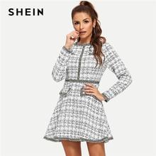 SHEIN White Elegant Office Lady Ruffle Beaded Fringe And Pearl Embellished Long Sleeve Tweed Dress Autumn Preppy Women Dresses