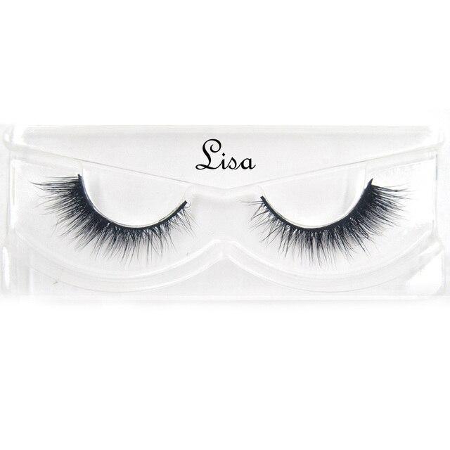 False Eyelashes hand made winged black band mink lashes black cotton stalk natural long eye lash reuse daily eye extension-lisa 1