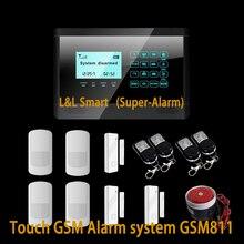 Беспроводная GSM SMS Главная Охранной Сигнализации Система С Сенсорным Экраном Главная Сигнализация с 850/900/1800/1900 МГц