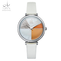 Shengke SK Watch Women Shell Dial leather Ladies Watch Japanese Quartz Movement Ultra Slim Buckle Strap Reloj Mujer Montre Femme