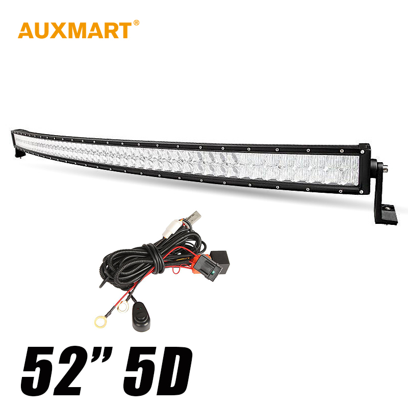Auxmart 5D 52 500w Curved Spot Flood Combo Beam 12V LED font b Light b font