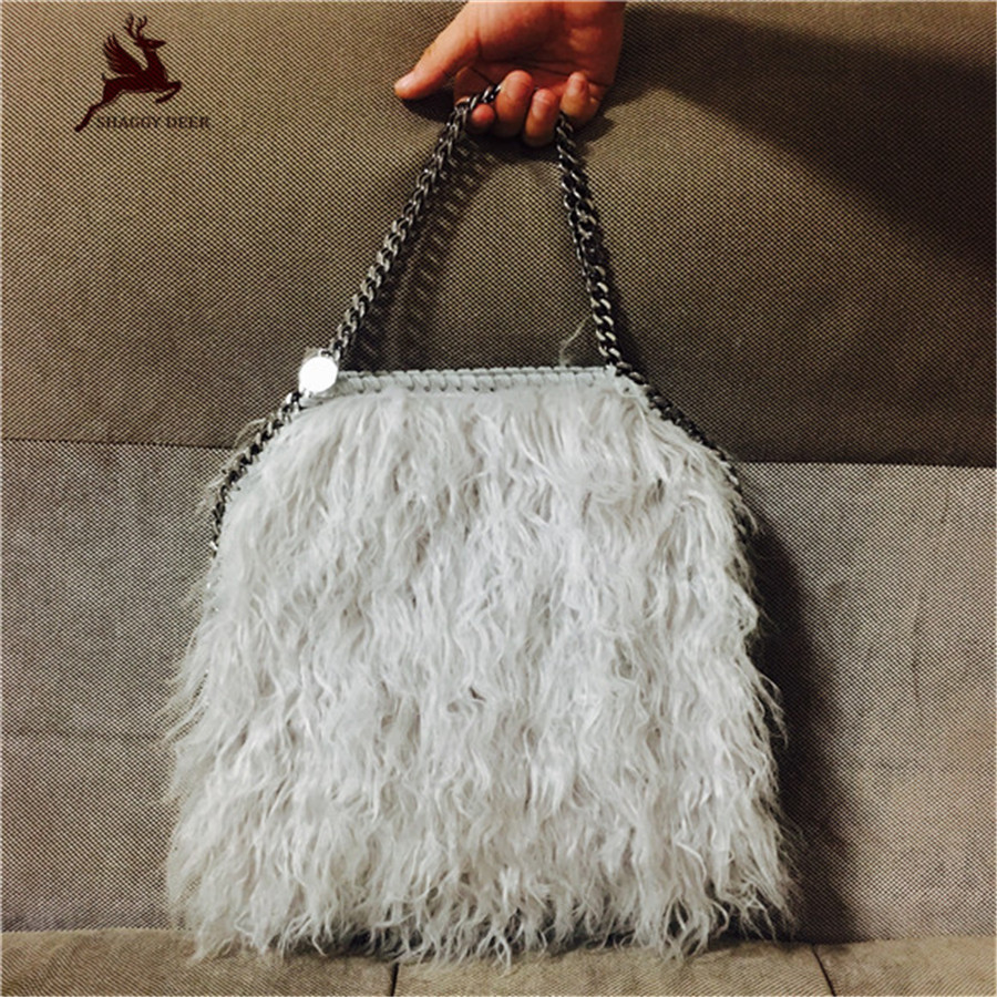 2017 Winter Exclusive Puffer Polyester Fur 25CM Shaggy Deer Chain Crossbody Shoulder Handbags Soft Lady Winter Bag mini gray shaggy deer pvc quilted chain bag with cover real picture