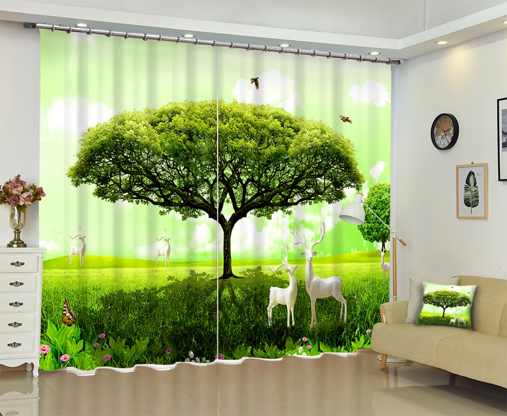 Customized Green Tree Deer Modern Luxury 3D Blackout Window Curtain Drape For Living room Bed room Hotel Wall Tapestry Cortinas Customized Green Tree Deer Modern Luxury 3D Blackout Window Curtain Drape For Living room Bed room Hotel Wall Tapestry Cortinas