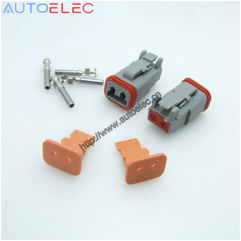 100Sets 2Pin AT06 2S Amphenol DT 2 Deutsch Female connector 1060 16 0122 u barrel terminal