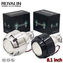 ROYALIN Car Bi Xenon 8.1 Projector Headlights Lens HID H1 H4 H7 W/ Gating Gun Shrouds Auto Motorcycle Retrofit Car-styling