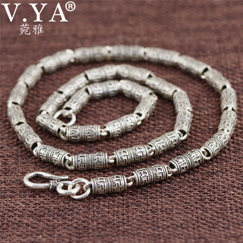 V YA 100 Real Pure 925 Sterling Silver Necklace Men Keep safe chain Mantra retro Thai