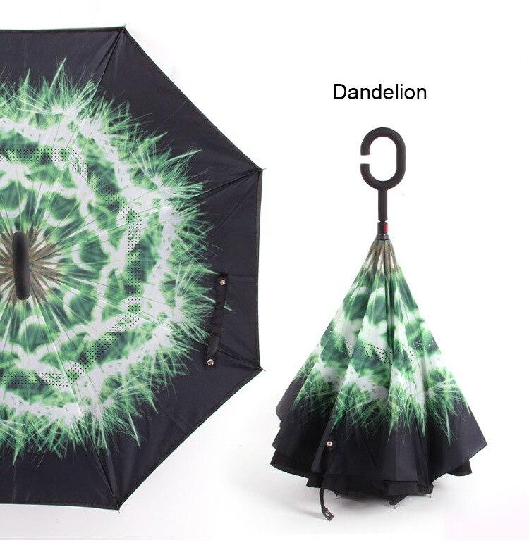 C ручкой ветрозащитный обратный складной зонтик для мужчин и женщин Защита от солнца дождь автомобиль перевернутый Зонты Двойной слой анти УФ Самостоятельная стойка Parapluie - Цвет: dandelion
