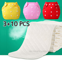 3 10 Pcs Baby Newborn Diapers Reusable Nappies Training Pant Adjustable Size Children Washable Diapers Inserts
