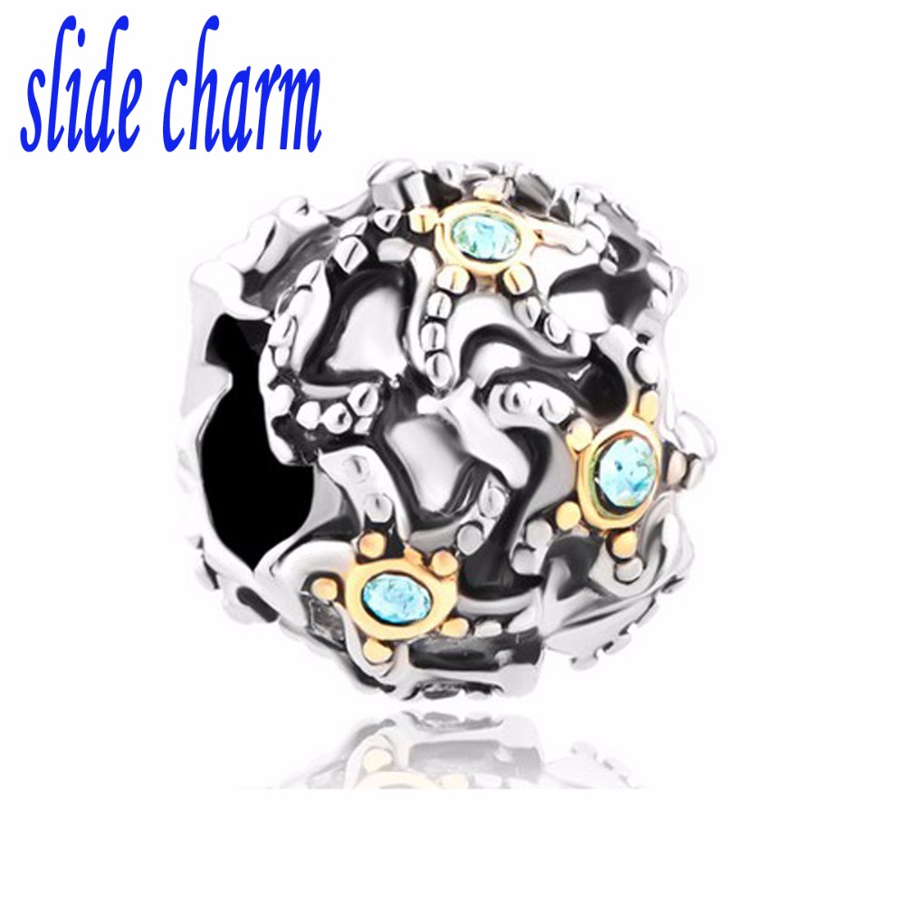 slide charm Free shipping Valentines Day gift and children living marine blue crystal starfish fit Pandora charm bracelets