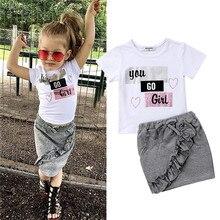 Одежда для новорожденных девочек пуловер с короткими рукавами и круглым вырезом Топы с надписями, джинсовые однотонные юбки с оборками хлопковая одежда из 2 предметов