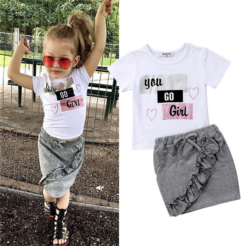 Newborn Kids Baby Girls Clothes short sleeve round neck pullover letter print Tops Denim solid Ruffle Skirts 2pc cotton Outfits