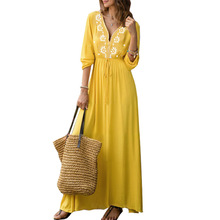 2019 new arrive long chiffon summer dress Womens yellow bohemian v-neck long-sleeved