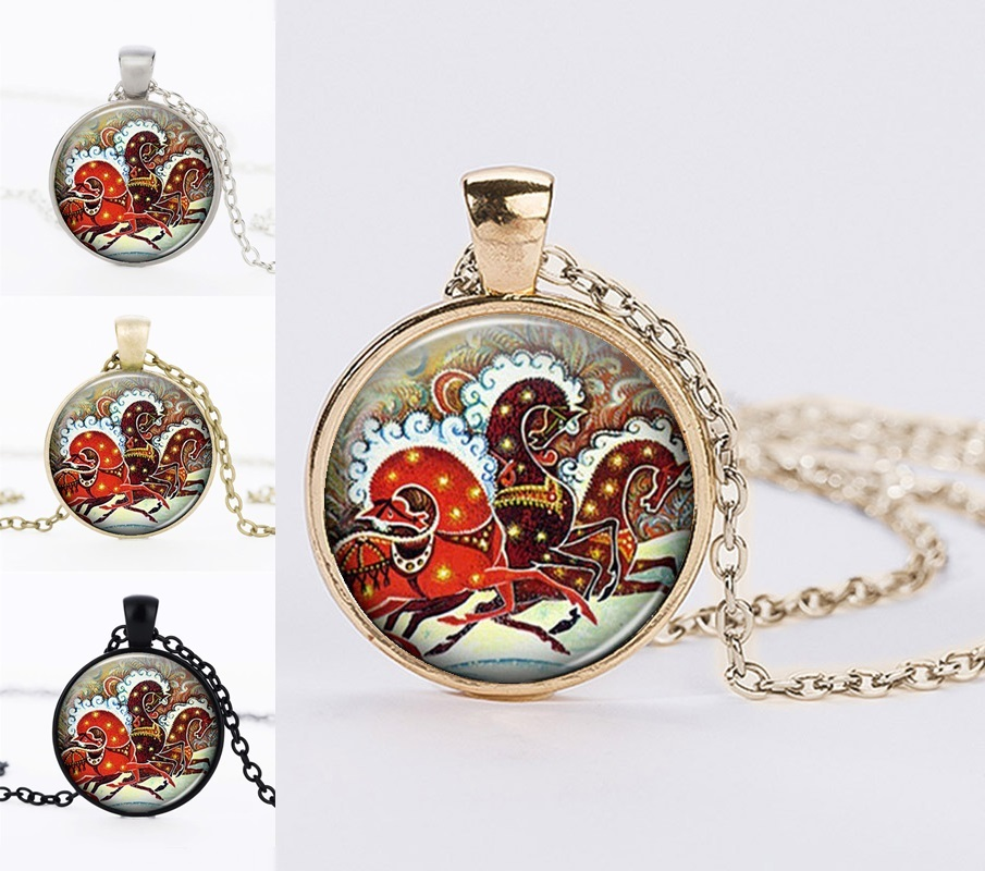 Black Friday Children Christmas Gifts Necklaces Long Chain Statement Necklaces Santa Claus Glass Dome Necklaces 2017