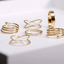 Krazylee Hot Sale Unique Ring Set Punk Gold Color Knuckle Rings for women Finger Ring 6 PCS/lot Ring Set Best Selling 2018(China)