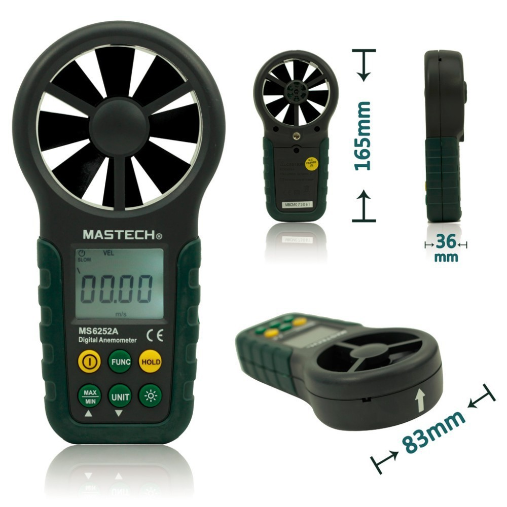 ФОТО MASTECH MS6252A Handheld Digital Anemometer Wind Speed Meter Air Flow Tester with Bar Graph