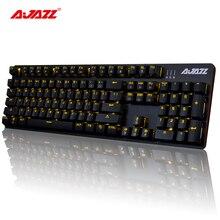 ROBOCOP Ajazz Wired Gaming Teclado Mecánico Marrón/Negro/Rojo/Azul Interruptores de luz de Fondo Fresco Anti-fatiga USB 104 Diseño Clásico
