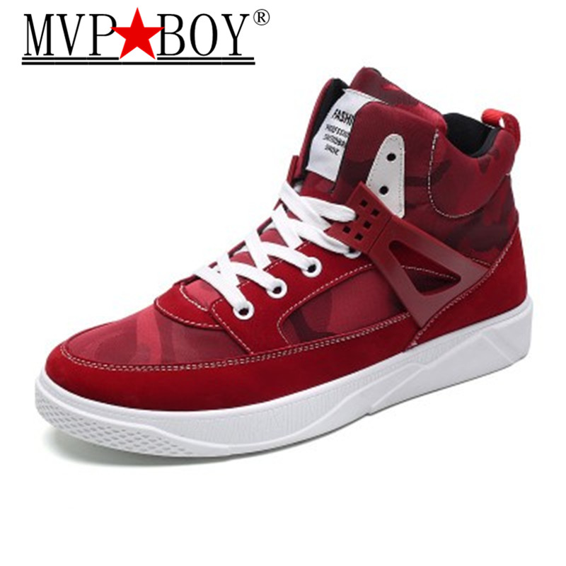 MVP BOY Autumn Winter New Men Casual Shoes Lace up Style Fashion Trend Microfiber Flat Breathable Rubber High Top Shoes Man in Men 39 s Casual Shoes from Shoes
