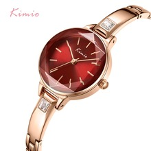 KIMIO Ladies Bracelet Watches For Women Fashion Red Dial Watch 2019 Top Brand Luxury Female Wristwatch Clock Relogio Feminino kimio women bracelet watches fashion ladies dress watch 2019 top brand luxury female wristwatch clock relogio feminino with box