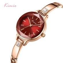Panie KIMIO bransoletki z zegarkiem dla kobiet moda Red Dial zegarek 2019 Top marka luksusowe kobiet zegarek kwarcowy zegar Relogio Feminino